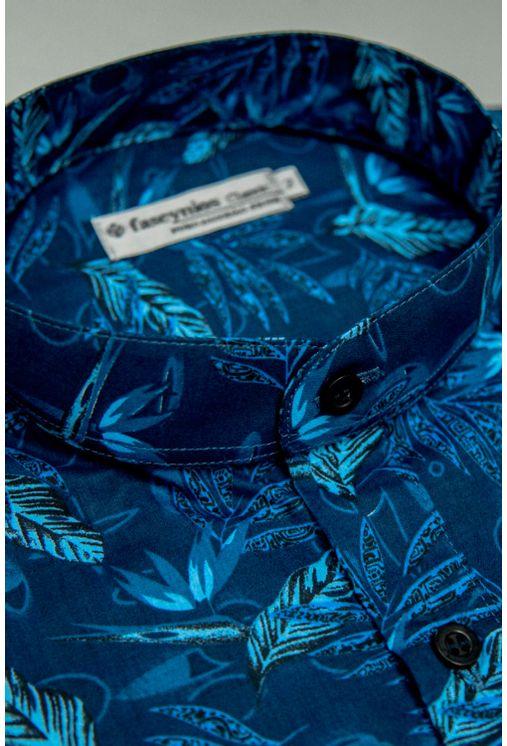 Camisa-Casual-Masculina-Tradicional-Algodao-Fio-60-Azul-Escuro-09074-01
